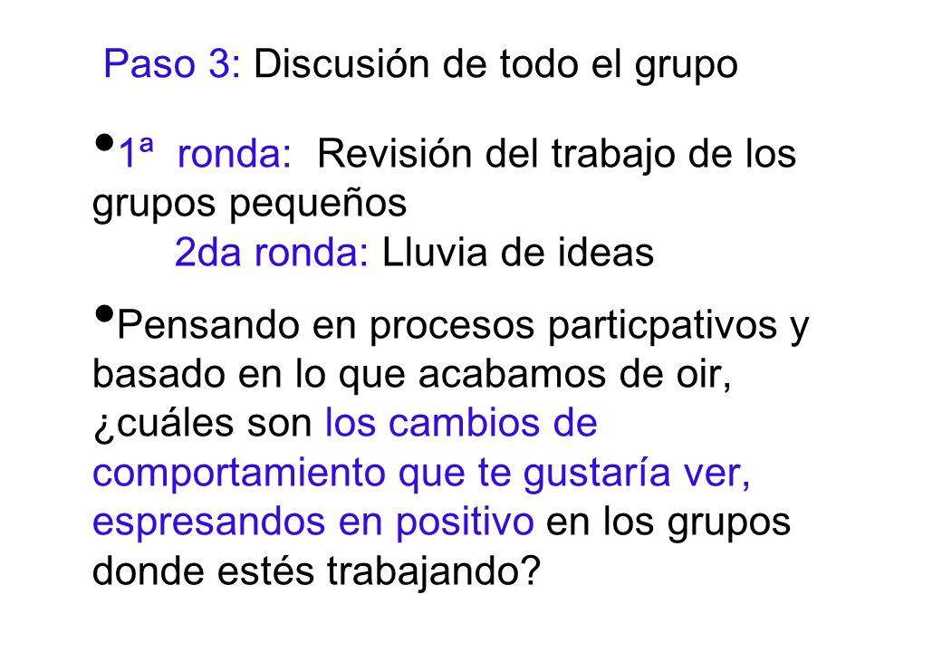 Paso 3: Discusión de todo el grupo 1ª ronda: Revisión del trabajo de los grupos pequeños 2da ronda: Lluvia de ideas Pensando en procesos particpativos y basado en lo que acabamos de oir, ¿cuáles son los cambios de comportamiento que te gustaría ver, espresandos en positivo en los grupos donde estés trabajando?