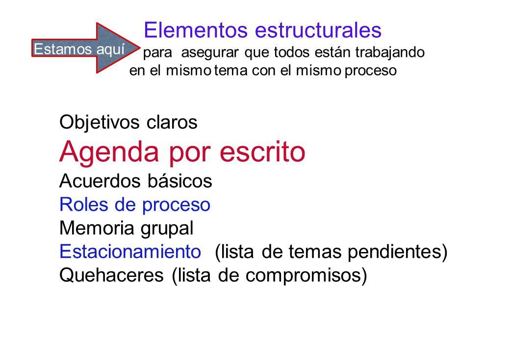 Elementos estructurales para asegurar que todos están trabajando en el mismo tema con el mismo proceso Objetivos claros Agenda por escrito Acuerdos básicos Roles de proceso Memoria grupal Estacionamiento (lista de temas pendientes) Quehaceres (lista de compromisos) Estamos aquí