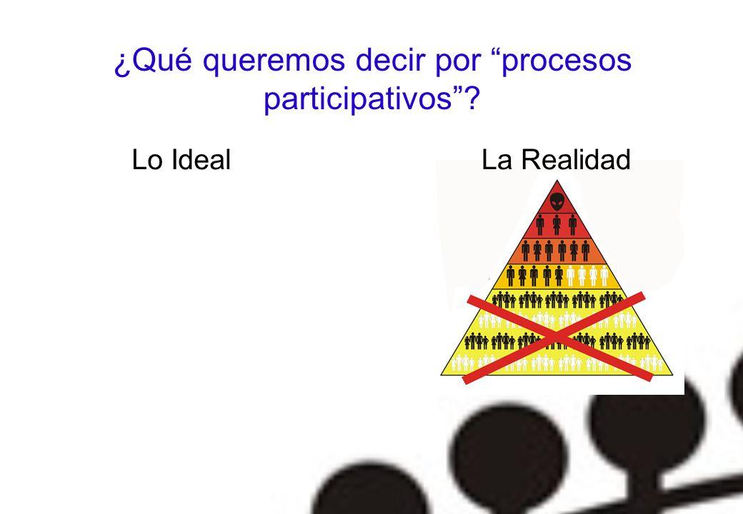 ¿Qué queremos decir por procesos participativos? C Lo IdealLa Realidad