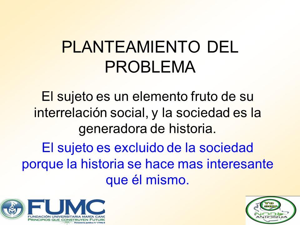 PLANTEAMIENTO DEL PROBLEMA El sujeto es un elemento fruto de su interrelación social, y la sociedad es la generadora de historia. El sujeto es excluid