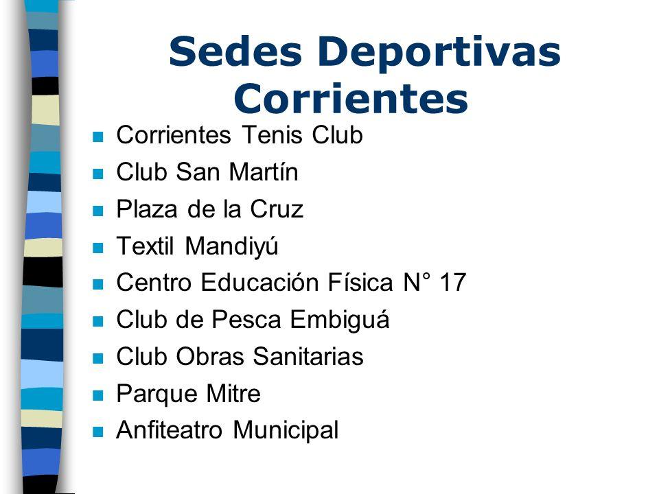Sedes Deportivas Corrientes n Corrientes Tenis Club n Club San Martín n Plaza de la Cruz n Textil Mandiyú n Centro Educación Física N° 17 n Club de Pe