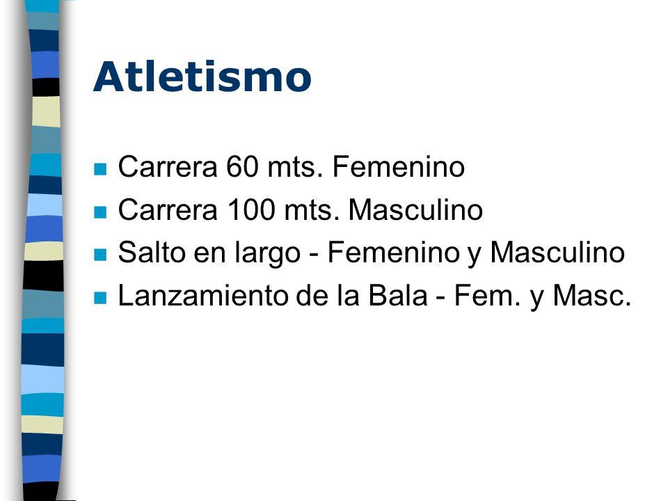 Atletismo n Carrera 60 mts. Femenino n Carrera 100 mts. Masculino n Salto en largo - Femenino y Masculino n Lanzamiento de la Bala - Fem. y Masc.