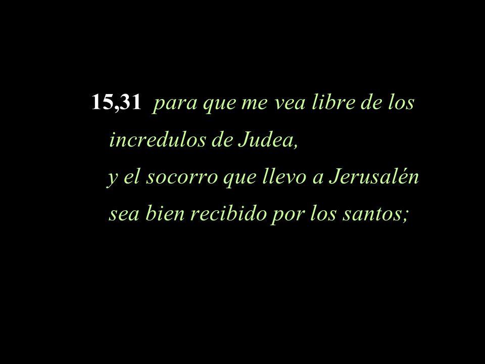 15,31 para que me vea libre de los incredulos de Judea, y el socorro que llevo a Jerusalén sea bien recibido por los santos;