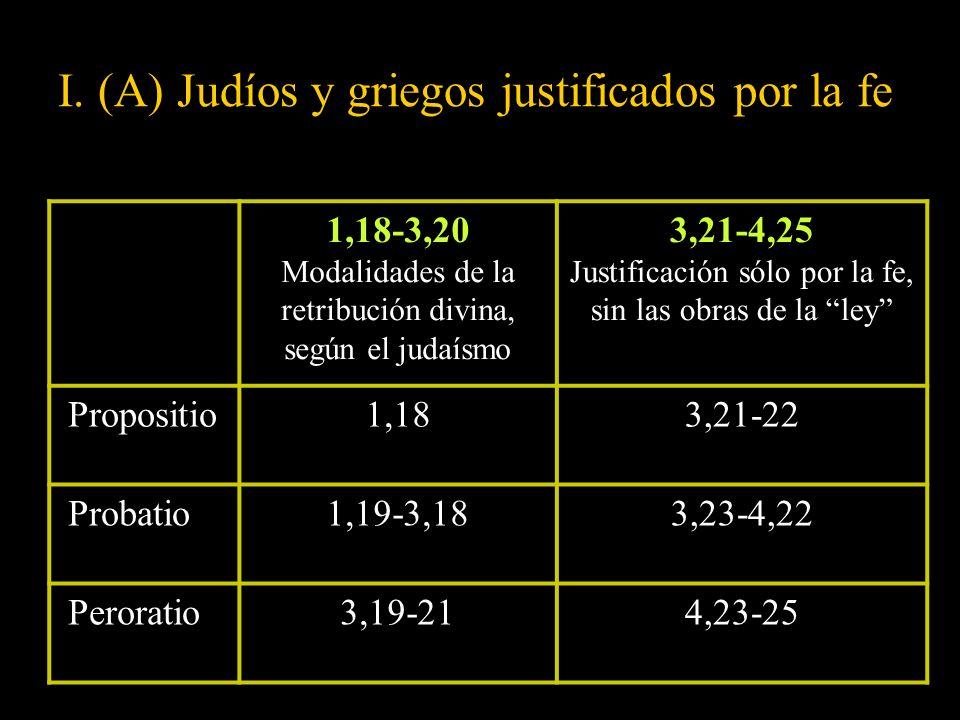 I. (A) Judíos y griegos justificados por la fe 1,18-3,20 Modalidades de la retribución divina, según el judaísmo 3,21-4,25 Justificación sólo por la f