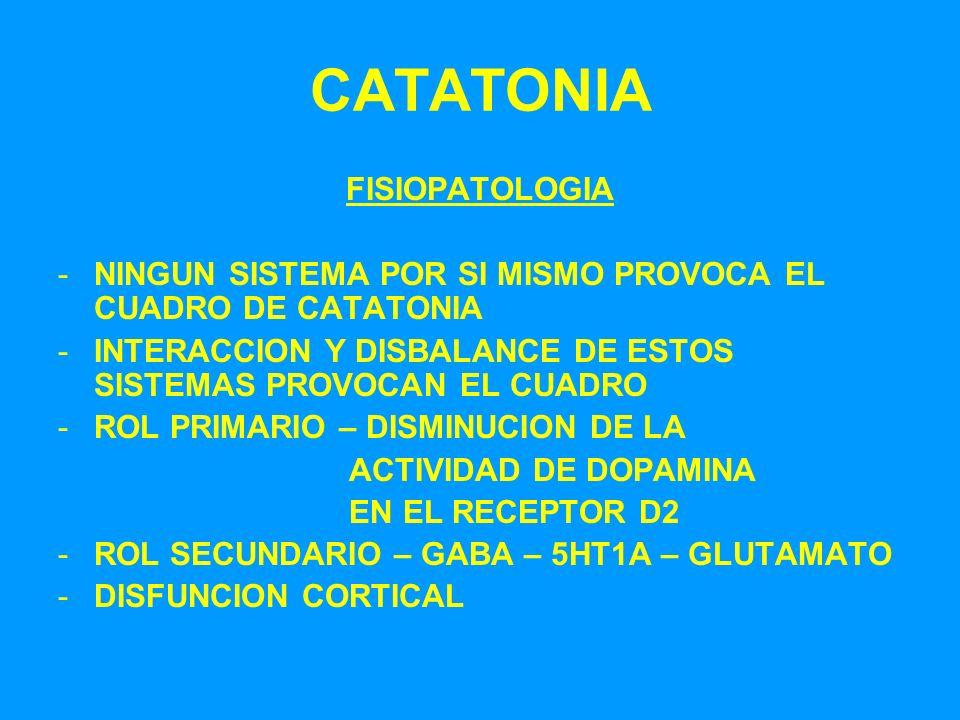 CATATONIA FISIOPATOLOGIA -NINGUN SISTEMA POR SI MISMO PROVOCA EL CUADRO DE CATATONIA -INTERACCION Y DISBALANCE DE ESTOS SISTEMAS PROVOCAN EL CUADRO -R
