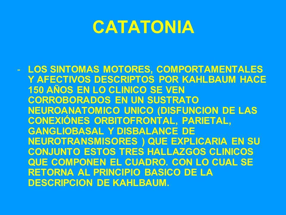 CATATONIA -LOS SINTOMAS MOTORES, COMPORTAMENTALES Y AFECTIVOS DESCRIPTOS POR KAHLBAUM HACE 150 AÑOS EN LO CLINICO SE VEN CORROBORADOS EN UN SUSTRATO N