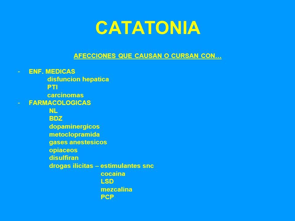 CATATONIA AFECCIONES QUE CAUSAN O CURSAN CON… -ENF. MEDICAS disfuncion hepatica PTI carcinomas -FARMACOLOGICAS NL BDZ dopaminergicos metoclopramida ga