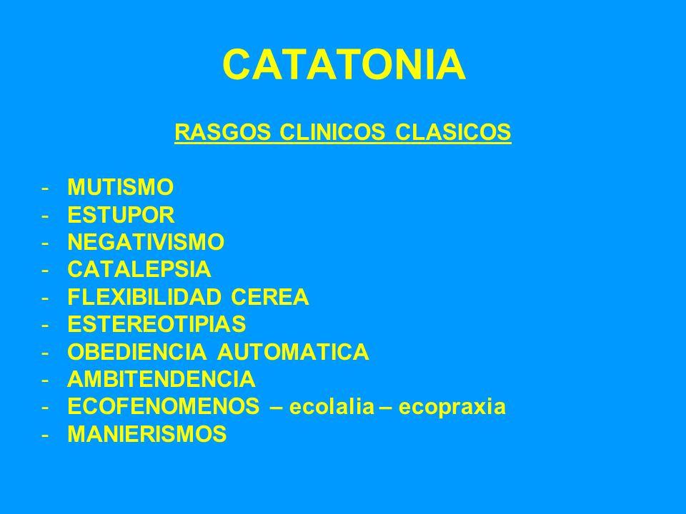 CATATONIA RASGOS CLINICOS CLASICOS -MUTISMO -ESTUPOR -NEGATIVISMO -CATALEPSIA -FLEXIBILIDAD CEREA -ESTEREOTIPIAS -OBEDIENCIA AUTOMATICA -AMBITENDENCIA