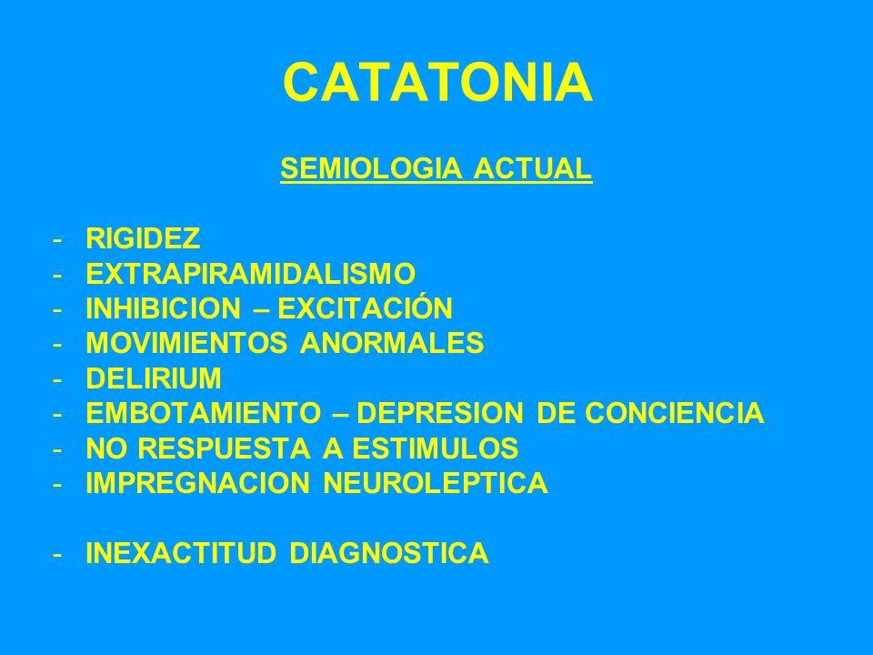 CATATONIA SEMIOLOGIA ACTUAL -RIGIDEZ -EXTRAPIRAMIDALISMO -INHIBICION – EXCITACIÓN -MOVIMIENTOS ANORMALES -DELIRIUM -EMBOTAMIENTO – DEPRESION DE CONCIE