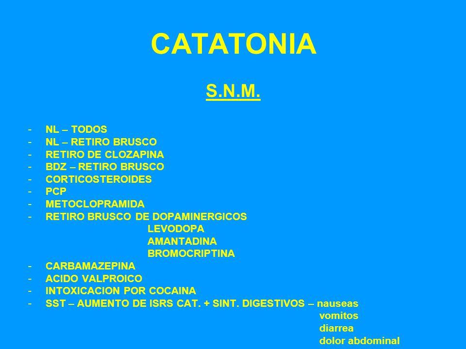 CATATONIA S.N.M. -NL – TODOS -NL – RETIRO BRUSCO -RETIRO DE CLOZAPINA -BDZ – RETIRO BRUSCO -CORTICOSTEROIDES -PCP -METOCLOPRAMIDA -RETIRO BRUSCO DE DO