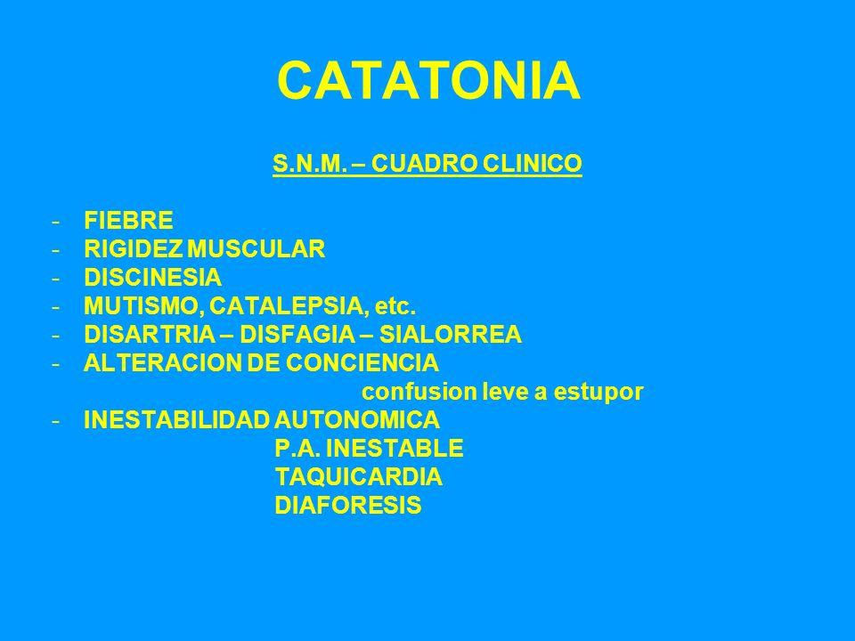 CATATONIA S.N.M. – CUADRO CLINICO -FIEBRE -RIGIDEZ MUSCULAR -DISCINESIA -MUTISMO, CATALEPSIA, etc. -DISARTRIA – DISFAGIA – SIALORREA -ALTERACION DE CO