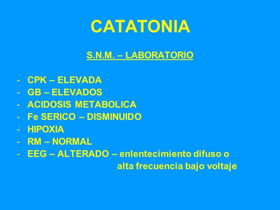 CATATONIA S.N.M. – LABORATORIO -CPK – ELEVADA -GB – ELEVADOS -ACIDOSIS METABOLICA -Fe SERICO – DISMINUIDO -HIPOXIA -RM – NORMAL -EEG – ALTERADO – enle