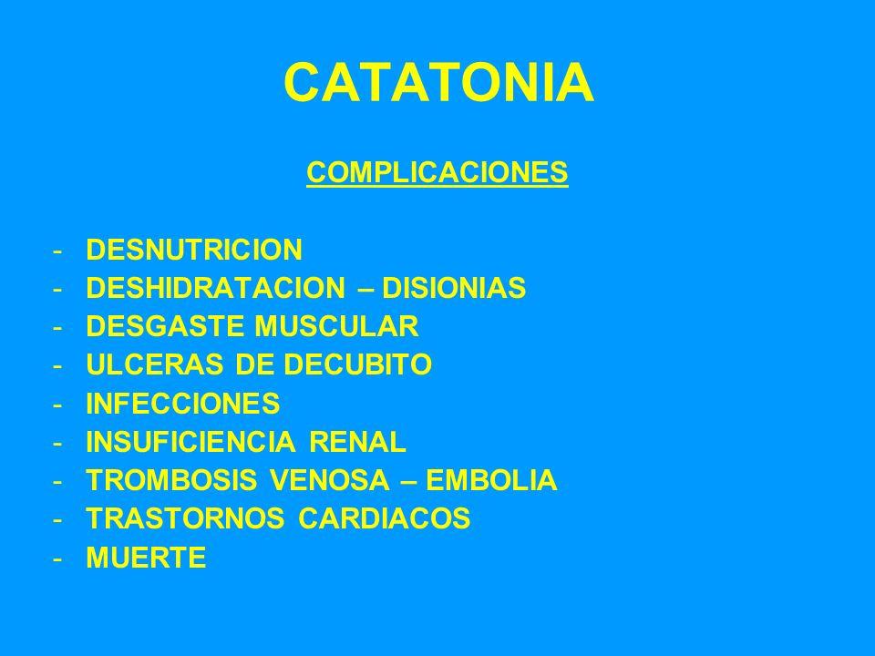 CATATONIA COMPLICACIONES -DESNUTRICION -DESHIDRATACION – DISIONIAS -DESGASTE MUSCULAR -ULCERAS DE DECUBITO -INFECCIONES -INSUFICIENCIA RENAL -TROMBOSI