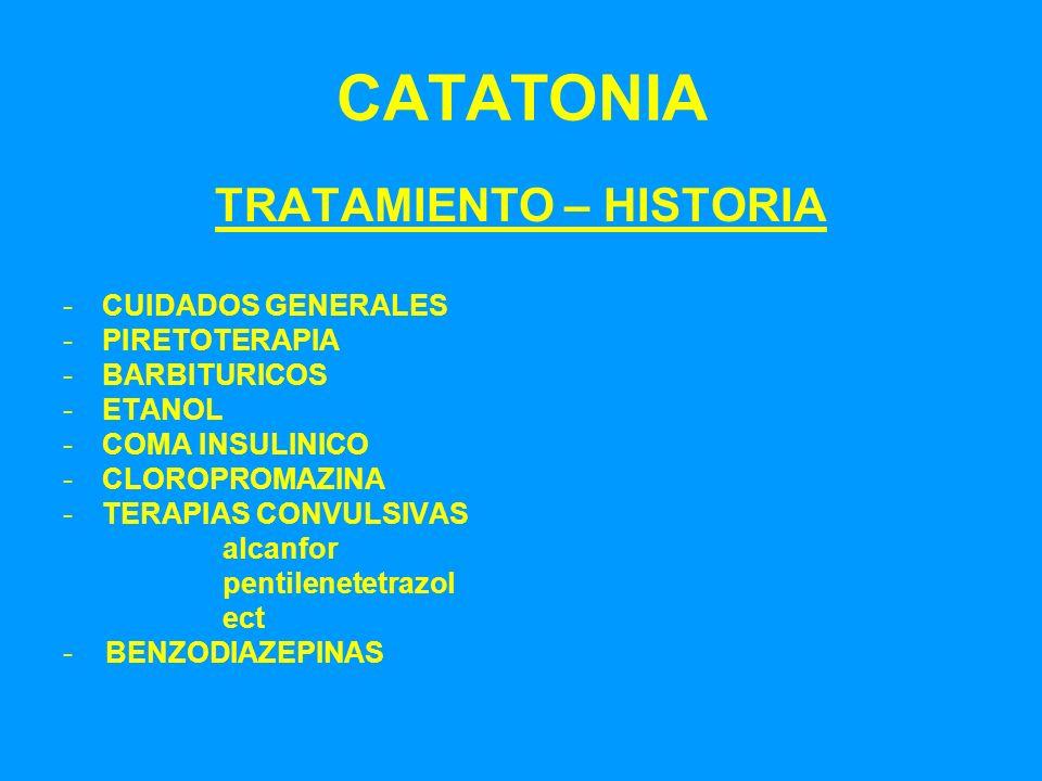CATATONIA TRATAMIENTO – HISTORIA -CUIDADOS GENERALES -PIRETOTERAPIA -BARBITURICOS -ETANOL -COMA INSULINICO -CLOROPROMAZINA -TERAPIAS CONVULSIVAS alcan