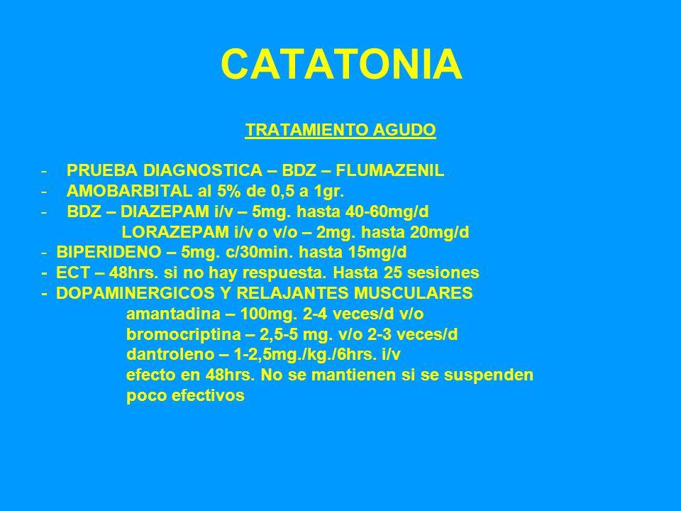 CATATONIA TRATAMIENTO AGUDO -PRUEBA DIAGNOSTICA – BDZ – FLUMAZENIL -AMOBARBITAL al 5% de 0,5 a 1gr. -BDZ – DIAZEPAM i/v – 5mg. hasta 40-60mg/d LORAZEP
