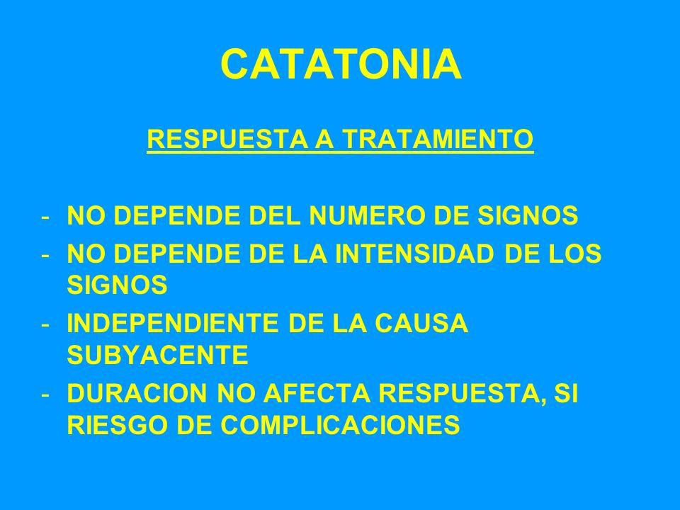 CATATONIA RESPUESTA A TRATAMIENTO -NO DEPENDE DEL NUMERO DE SIGNOS -NO DEPENDE DE LA INTENSIDAD DE LOS SIGNOS -INDEPENDIENTE DE LA CAUSA SUBYACENTE -D