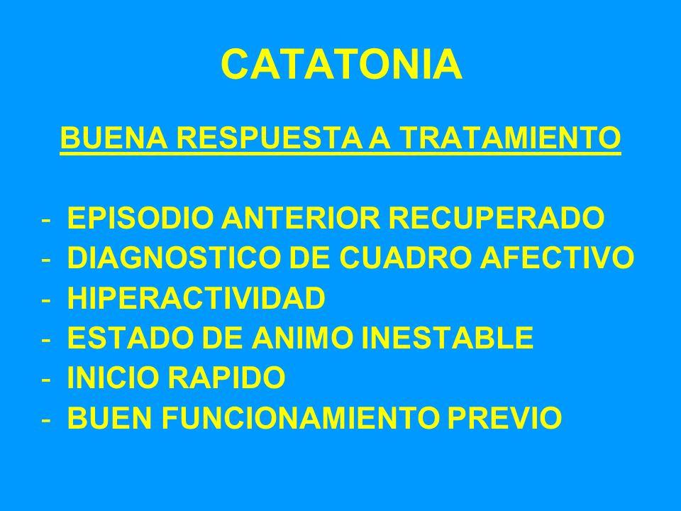 CATATONIA BUENA RESPUESTA A TRATAMIENTO -EPISODIO ANTERIOR RECUPERADO -DIAGNOSTICO DE CUADRO AFECTIVO -HIPERACTIVIDAD -ESTADO DE ANIMO INESTABLE -INIC
