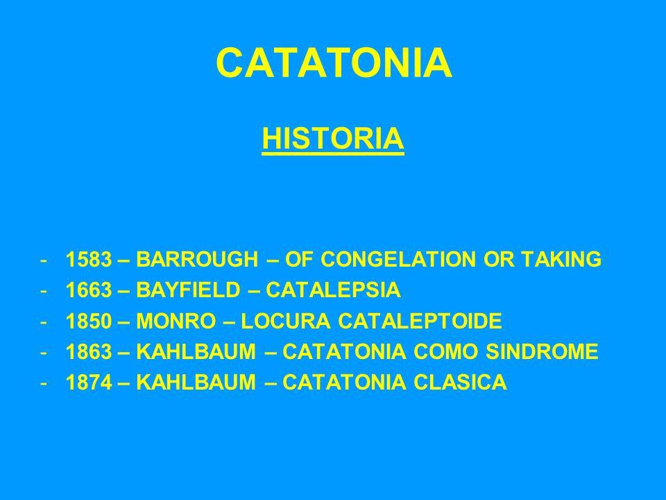 CATATONIA HISTORIA -1583 – BARROUGH – OF CONGELATION OR TAKING -1663 – BAYFIELD – CATALEPSIA -1850 – MONRO – LOCURA CATALEPTOIDE -1863 – KAHLBAUM – CA