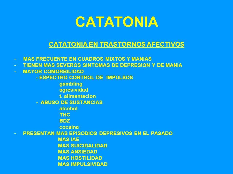 CATATONIA CATATONIA EN TRASTORNOS AFECTIVOS - MAS FRECUENTE EN CUADROS MIXTOS Y MANIAS -TIENEN MAS SEVEROS SINTOMAS DE DEPRESION Y DE MANIA -MAYOR COM