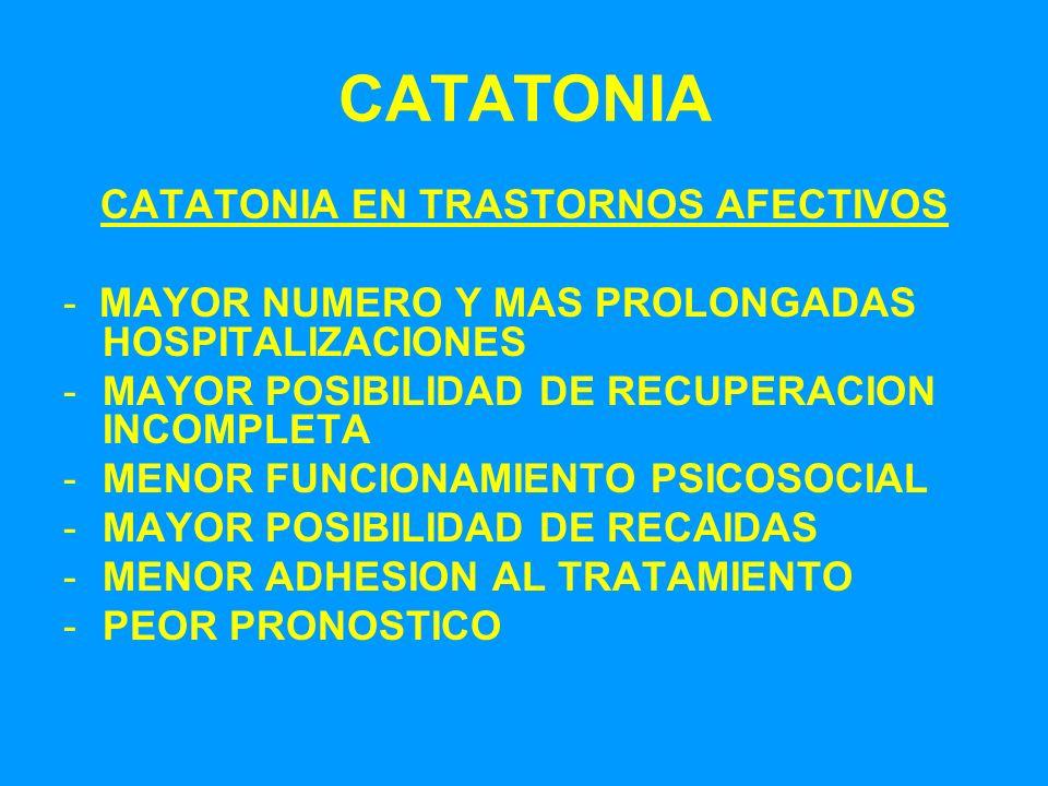 CATATONIA CATATONIA EN TRASTORNOS AFECTIVOS - MAYOR NUMERO Y MAS PROLONGADAS HOSPITALIZACIONES -MAYOR POSIBILIDAD DE RECUPERACION INCOMPLETA -MENOR FU