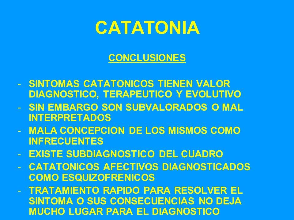 CATATONIA CONCLUSIONES -SINTOMAS CATATONICOS TIENEN VALOR DIAGNOSTICO, TERAPEUTICO Y EVOLUTIVO -SIN EMBARGO SON SUBVALORADOS O MAL INTERPRETADOS -MALA