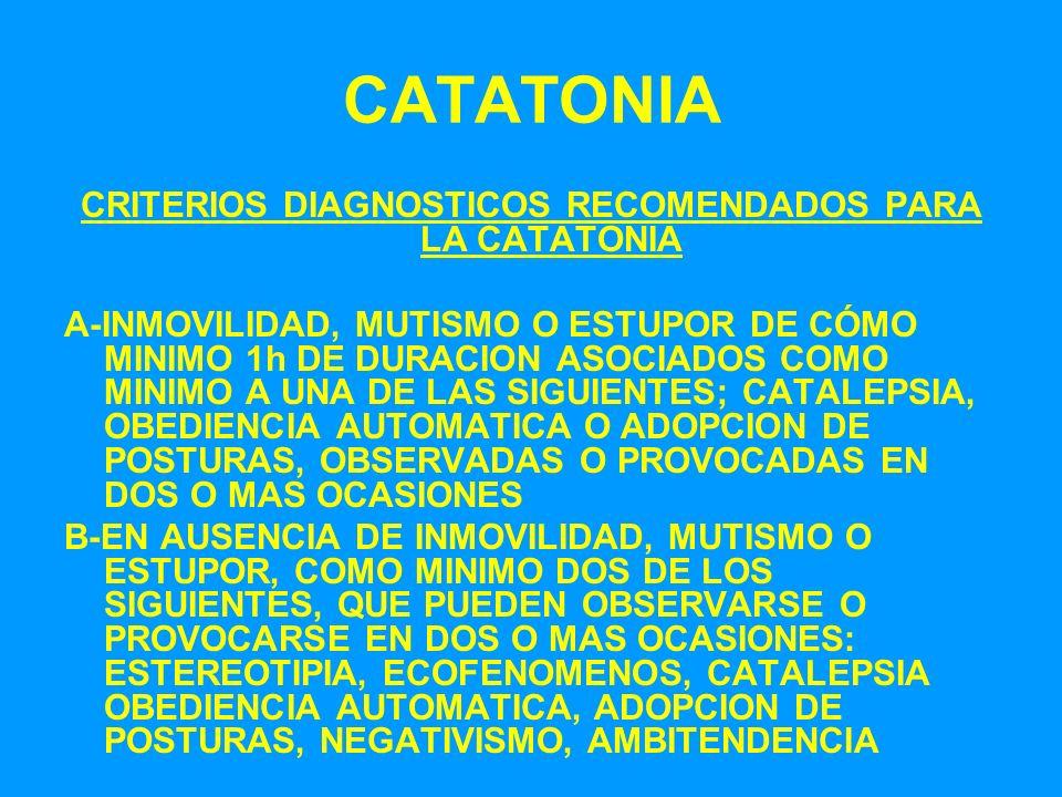 CATATONIA CRITERIOS DIAGNOSTICOS RECOMENDADOS PARA LA CATATONIA A-INMOVILIDAD, MUTISMO O ESTUPOR DE CÓMO MINIMO 1h DE DURACION ASOCIADOS COMO MINIMO A