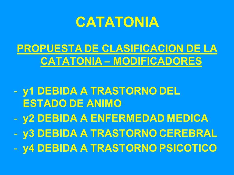 CATATONIA PROPUESTA DE CLASIFICACION DE LA CATATONIA – MODIFICADORES -y1 DEBIDA A TRASTORNO DEL ESTADO DE ANIMO -y2 DEBIDA A ENFERMEDAD MEDICA -y3 DEB