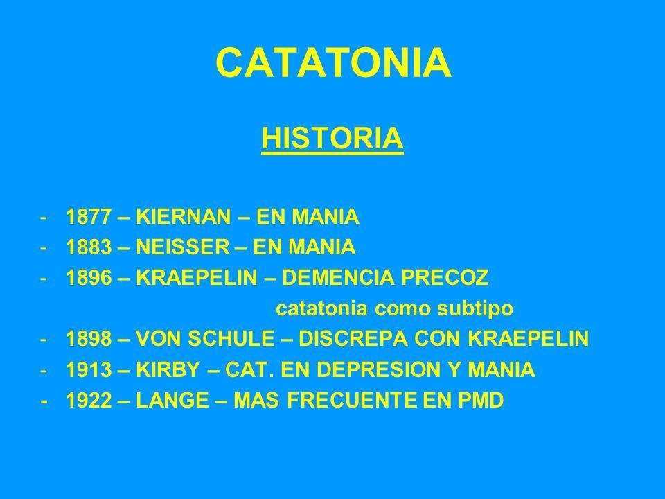 CATATONIA HISTORIA -1877 – KIERNAN – EN MANIA -1883 – NEISSER – EN MANIA -1896 – KRAEPELIN – DEMENCIA PRECOZ catatonia como subtipo -1898 – VON SCHULE