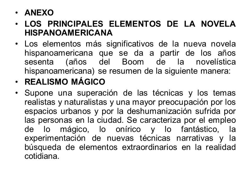 ANEXO LOS PRINCIPALES ELEMENTOS DE LA NOVELA HISPANOAMERICANA Los elementos más significativos de la nueva novela hispanoamericana que se da a partir