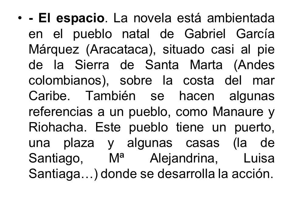 - El espacio. La novela está ambientada en el pueblo natal de Gabriel García Márquez (Aracataca), situado casi al pie de la Sierra de Santa Marta (And