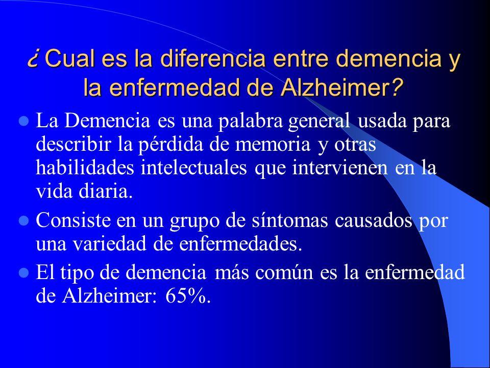 ¿ Cual es la diferencia entre demencia y la enfermedad de Alzheimer? La Demencia es una palabra general usada para describir la pérdida de memoria y o