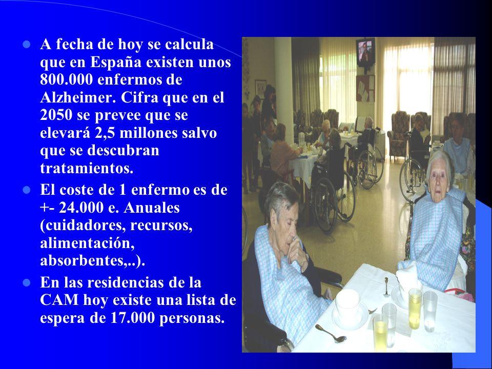 A fecha de hoy se calcula que en España existen unos 800.000 enfermos de Alzheimer. Cifra que en el 2050 se prevee que se elevará 2,5 millones salvo q