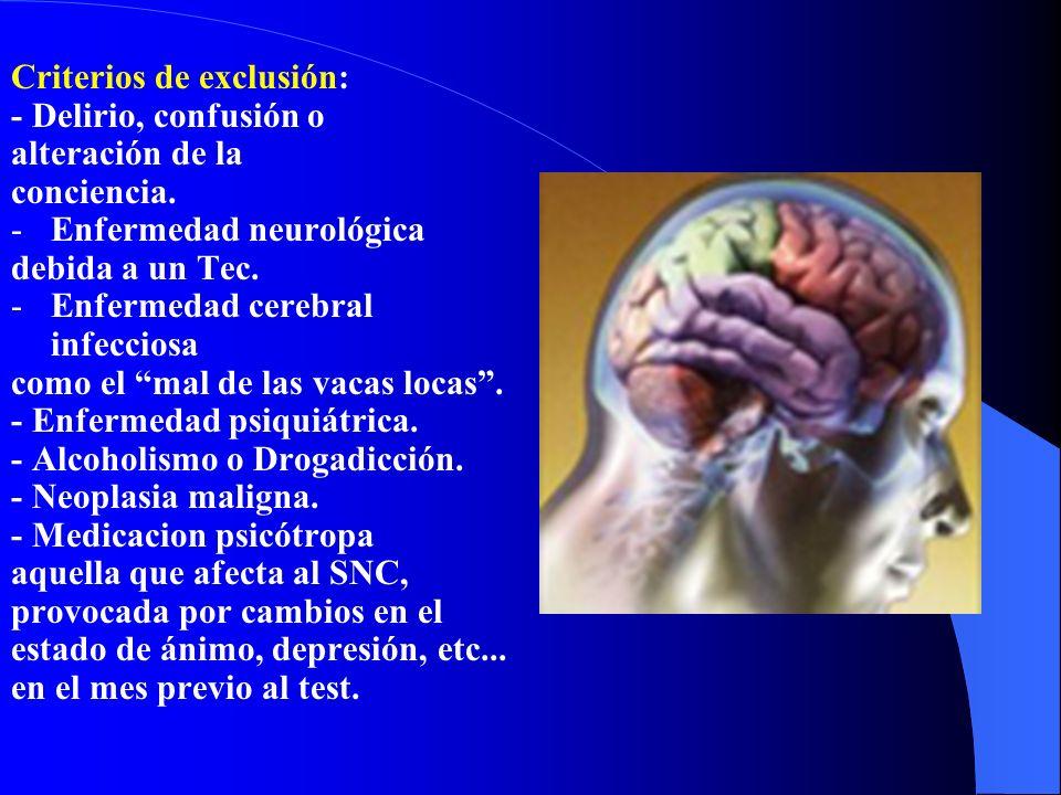 Criterios de exclusión: - Delirio, confusión o alteración de la conciencia. -Enfermedad neurológica debida a un Tec. -Enfermedad cerebral infecciosa c