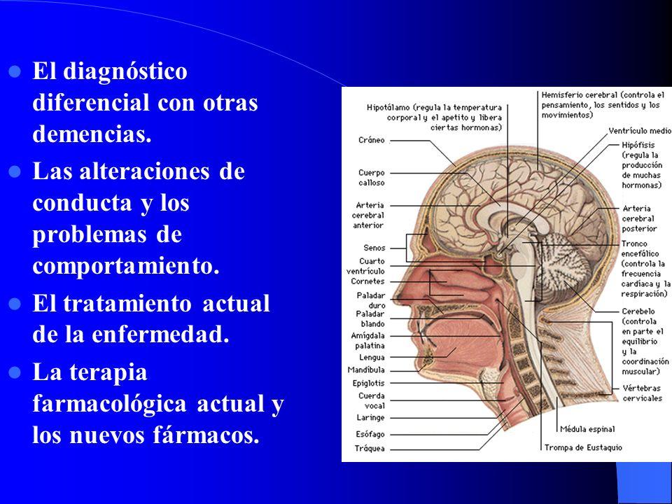 El diagnóstico diferencial con otras demencias. Las alteraciones de conducta y los problemas de comportamiento. El tratamiento actual de la enfermedad