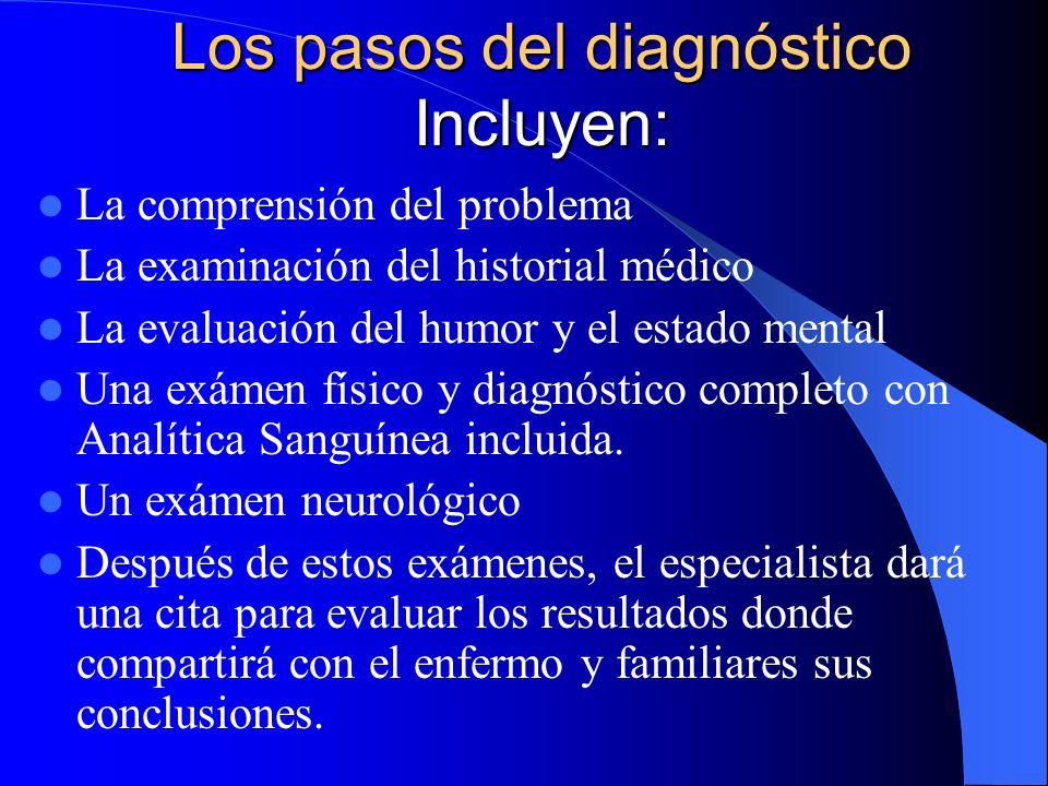 Los pasos del diagnóstico Incluyen: La comprensión del problema La examinación del historial médico La evaluación del humor y el estado mental Una exá