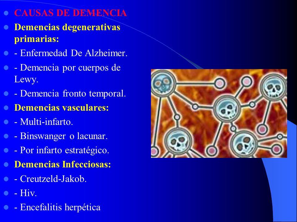 CAUSAS DE DEMENCIA Demencias degenerativas primarias: - Enfermedad De Alzheimer. - Demencia por cuerpos de Lewy. - Demencia fronto temporal. Demencias