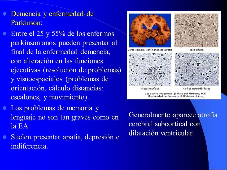 Demencia y enfermedad de Parkinson: Entre el 25 y 55% de los enfermos parkinsonianos pueden presentar al final de la enfermedad demencia, con alteración en las funciones ejecutivas (resolución de problemas) y visuoespaciales (problemas de orientación, cálculo distancias: escalones, y movimiento).