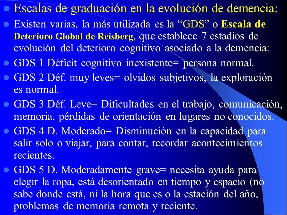Escalas de graduación en la evolución de demencia: Existen varias, la más utilizada es la GDS o Escala de Deterioro Global de Reisberg, que establece 7 estadios de evolución del deterioro cognitivo asociado a la demencia: GDS 1 Déficit cognitivo inexistente= persona normal.