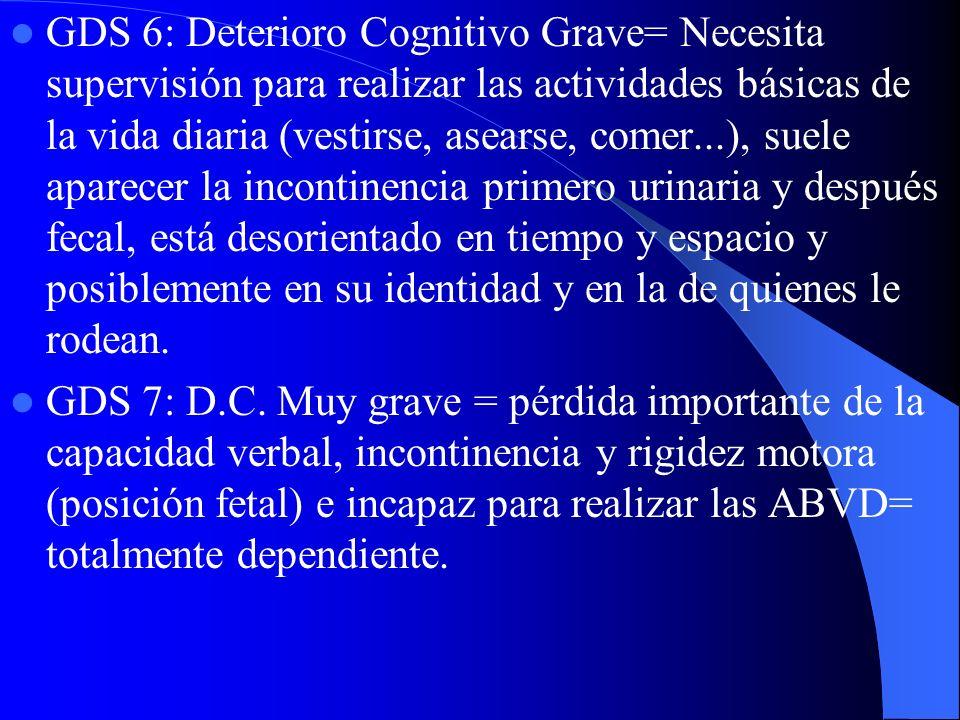 GDS 6: Deterioro Cognitivo Grave= Necesita supervisión para realizar las actividades básicas de la vida diaria (vestirse, asearse, comer...), suele ap