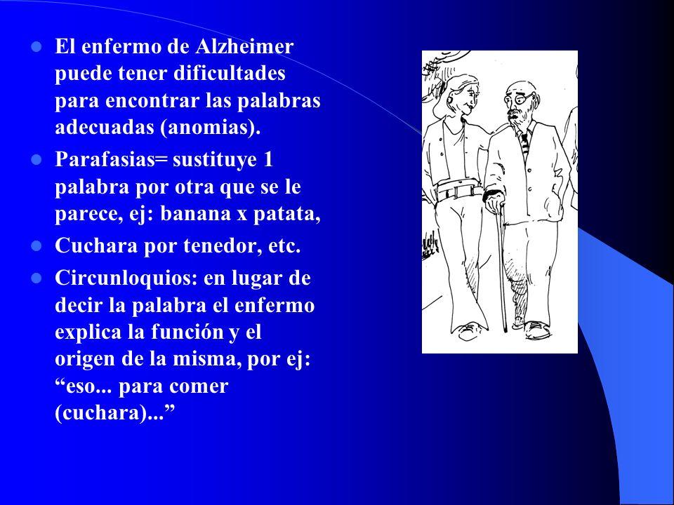 El enfermo de Alzheimer puede tener dificultades para encontrar las palabras adecuadas (anomias). Parafasias= sustituye 1 palabra por otra que se le p