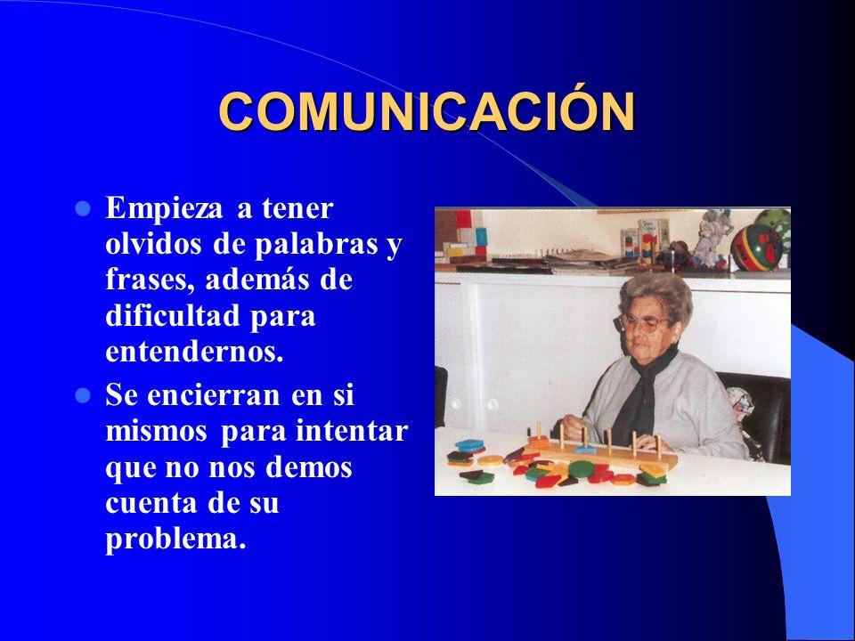 COMUNICACIÓN Empieza a tener olvidos de palabras y frases, además de dificultad para entendernos.