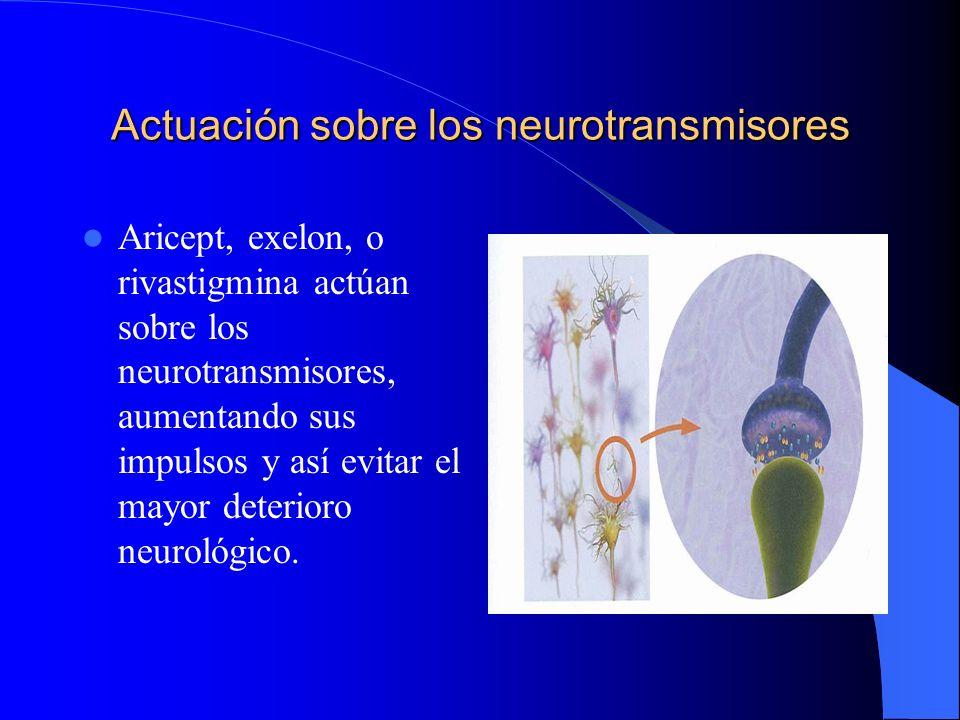 Actuación sobre los neurotransmisores Aricept, exelon, o rivastigmina actúan sobre los neurotransmisores, aumentando sus impulsos y así evitar el mayo