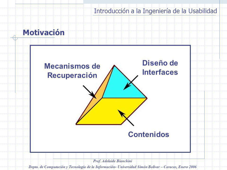 Introducción a la Ingeniería de la Usabilidad Prof. Adelaide Bianchini Depto. de Computación y Tecnología de la Información- Universidad Simón Bolívar