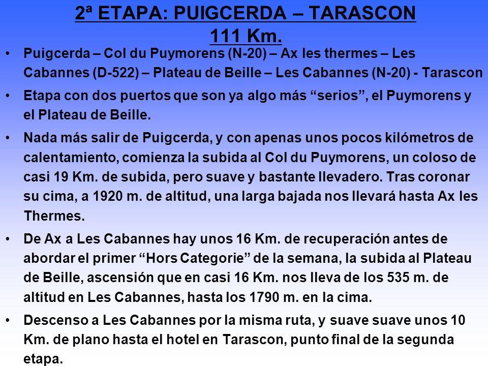 Puigcerda – Col du Puymorens (N-20) – Ax les thermes – Les Cabannes (D-522) – Plateau de Beille – Les Cabannes (N-20) - Tarascon Etapa con dos puertos