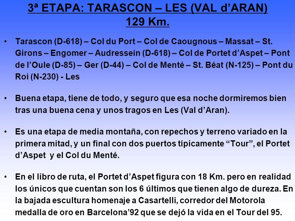 Tarascon (D-618) – Col du Port – Col de Caougnous – Massat – St. Girons – Engomer – Audressein (D-618) – Col de Portet dAspet – Pont de lOule (D-85) –