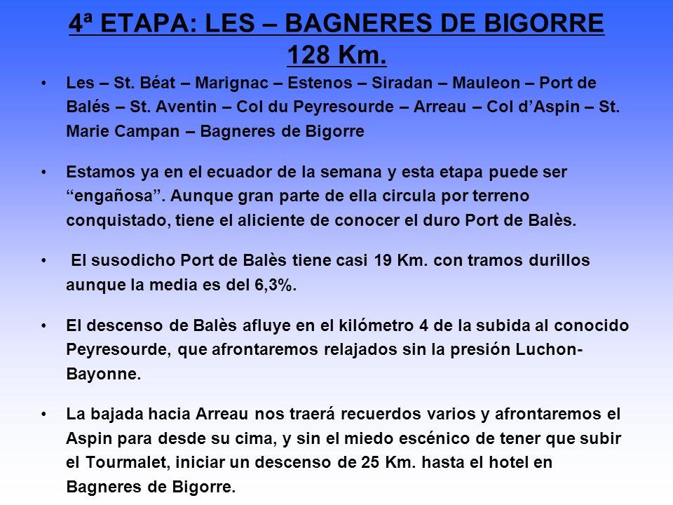 Les – St. Béat – Marignac – Estenos – Siradan – Mauleon – Port de Balés – St. Aventin – Col du Peyresourde – Arreau – Col dAspin – St. Marie Campan –