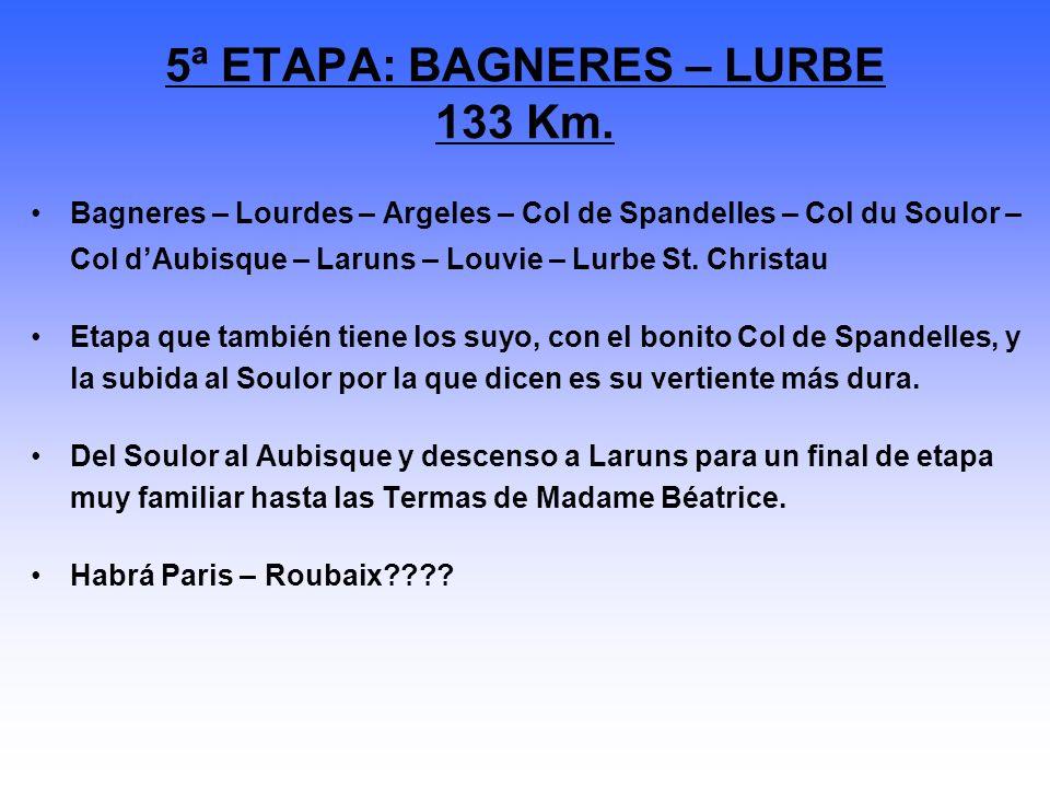 Bagneres – Lourdes – Argeles – Col de Spandelles – Col du Soulor – Col dAubisque – Laruns – Louvie – Lurbe St. Christau Etapa que también tiene los su