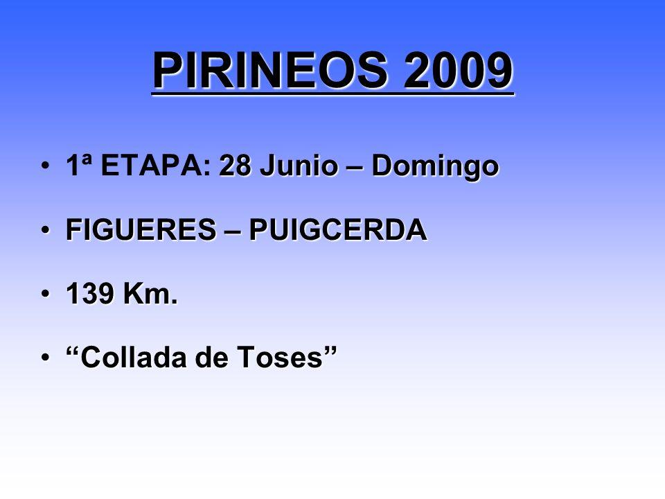 28 Junio – Domingo1ª ETAPA: 28 Junio – Domingo FIGUERES – PUIGCERDAFIGUERES – PUIGCERDA 139 Km.139 Km. Collada de TosesCollada de Toses PIRINEOS 2009