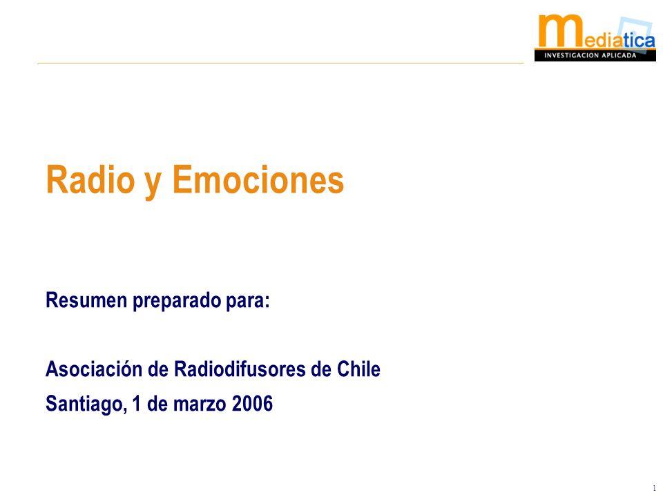 1 Resumen preparado para: Asociación de Radiodifusores de Chile Santiago, 1 de marzo 2006 Radio y Emociones