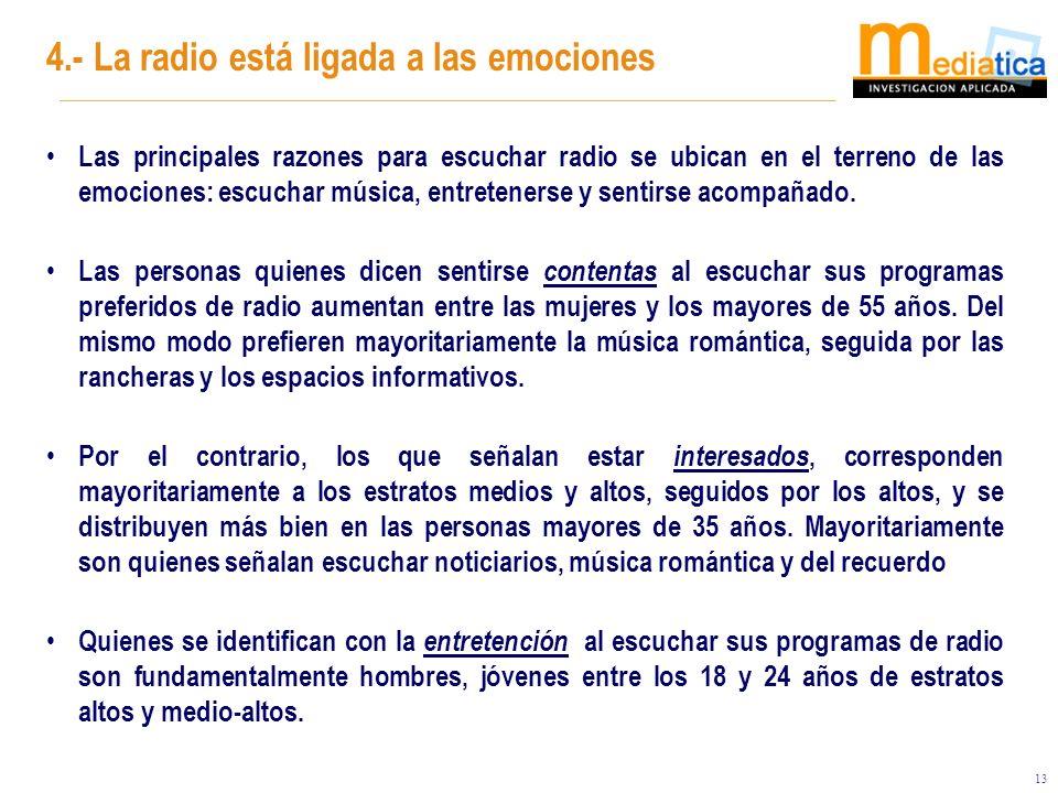 13 Las principales razones para escuchar radio se ubican en el terreno de las emociones: escuchar música, entretenerse y sentirse acompañado. Las pers